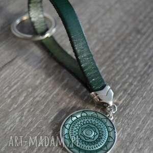 handmade breloki skórzany brelok do kluczy mandallo zielony