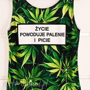 top z marihuaną życie powoduje palenie i picie, koszulka 3d, młodzieżowa, fajna