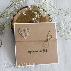 zaproszenie na ślub z sercem - zaproszenia, wesele