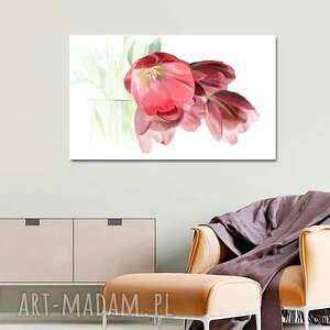 obraz na płótnie tulipany romantyczne 100x60, tulipany, z tulipanami