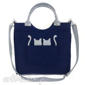 Gray cats on navy blue/strap - ,torebka,listonoszka,kotki,