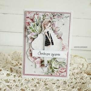 vairatka-handmade kartka z życzeniami 553 - różowe, imieniny