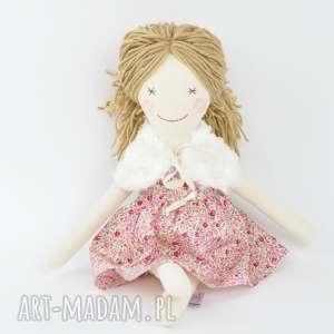 ręcznie zrobione zabawki lalka szmaciana, sukienka w różyczki