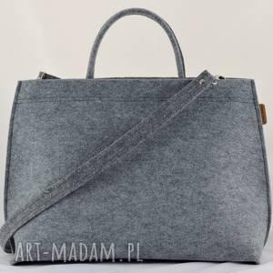 duża torebka - szary filcowy kuferek - pojemna torba do ręki i ramię, filc