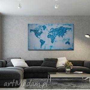 mapa świta 3d - turkusowa 96x54cm ręcznie malowana, mapa, świata, płótno, obraz