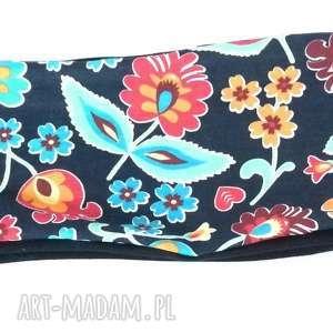 niebieska ciepła opaska w haftowana, opaska, haft, etno, ciepła, kolorowa, wzory