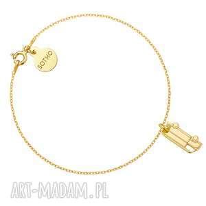 złota bransoletka z kamperem - żółte, złoto, modowa
