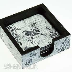 podkładki pod kubki- birds, podkładki, podstawki, pod, kubki, ptaki, pudełko
