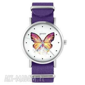 zegarek - motyl fioletowy, nylonowy, zegarek, nylonowy pasek, typ militarny