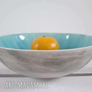 miseczka z turkusowym środkiem - ,ceramiczna,artystyczna,dekoracyjna,miseczka,