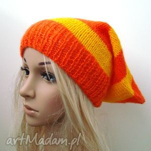 czapka w pasy pomarańczowo-żółte - czapka, pasy, delikatna, oryginalna