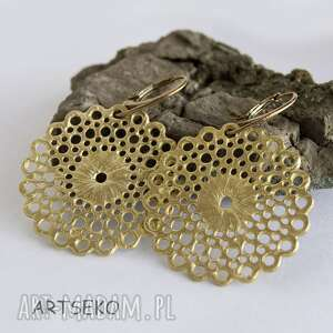 c250 złota koronka kolczyki, ażurowe, koronka, mosiądz, wiszące biżuteria