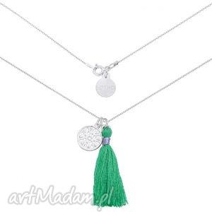 srebrny naszyjnik z zielonym chwostem i arabską rozetką, naszyjnik, chwost, zielony