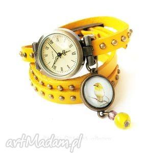 handmade bransoletka, zegarek singing bird, żółty, skórzany