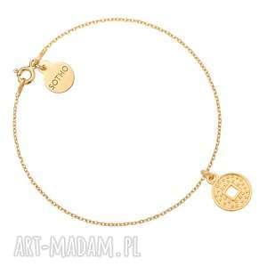 złota bransoletka z monetą, bransoletki, zawieszka, okrągła, moneta