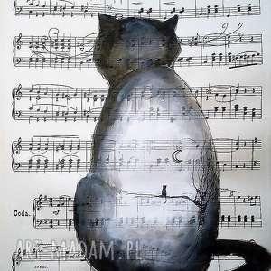 KOCIA ZADUMA akwarela artystki Adriany Laube, akwarela, kot, księżyc, pejzaż, nuty