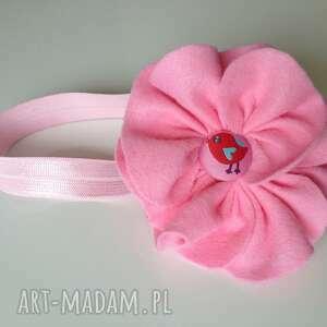 ręcznie robione dla dziecka opaska niemowlęca - kwiat ptaszek