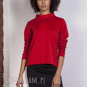 bluza z dłuższym tyłem, blu139 czerwony, bluza, bluzka, trapezowa, stójka