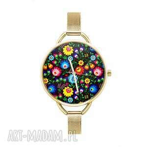 zegarek z grafiką ludowe, kwiaty, kolorowy, folklor, oryginalny, homemade