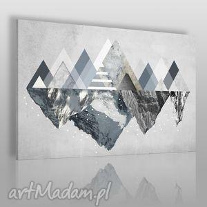 obraz na płótnie - góry zima 120x80 cm 42901, góry, trójkąty, geometryczny