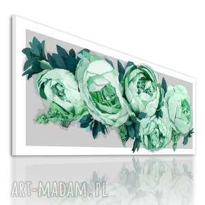 obrazy obraz na płotnie 120x50 - piwonie w turkusie 03 -23 wysyłka w 24h