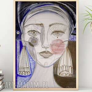 plakaty plakat a4 - dziewczyna i jezioro, plakat, wydruk, obraz, twarz, kobieta