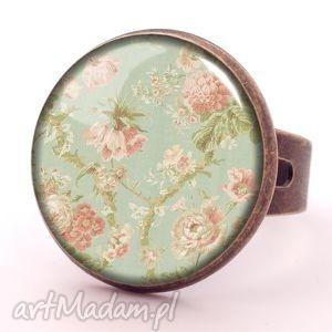 retro róże - pierścionek regulowany vintage