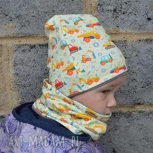 ręcznie zrobione koparki żółta czapka i komin dla chłopca na jesień/zimę, rozmiary 0 -8
