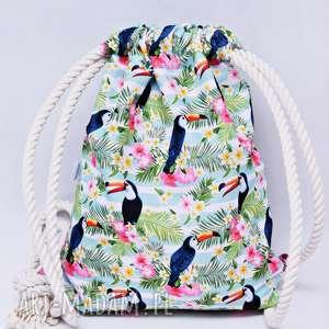 worek plecak wodoodporny tukany różowe, torba, plecak, workoplecak, worek