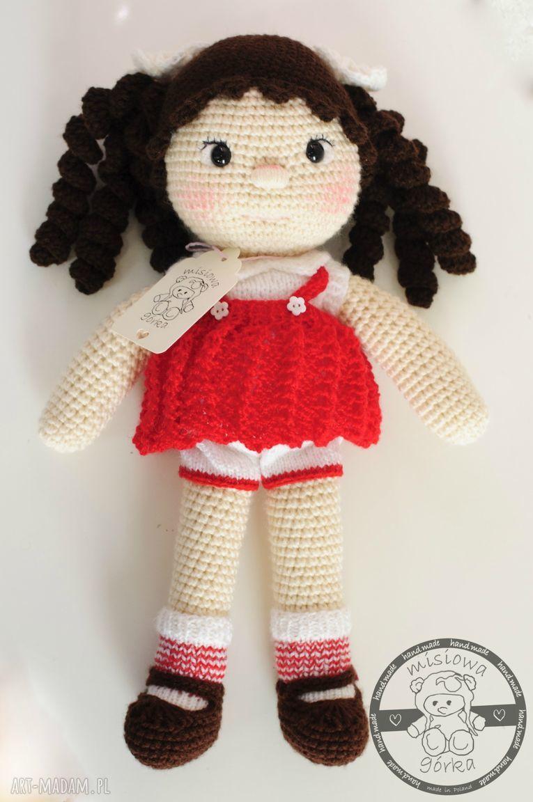 oryginalne lalki lalka na szydełku w czerwonej