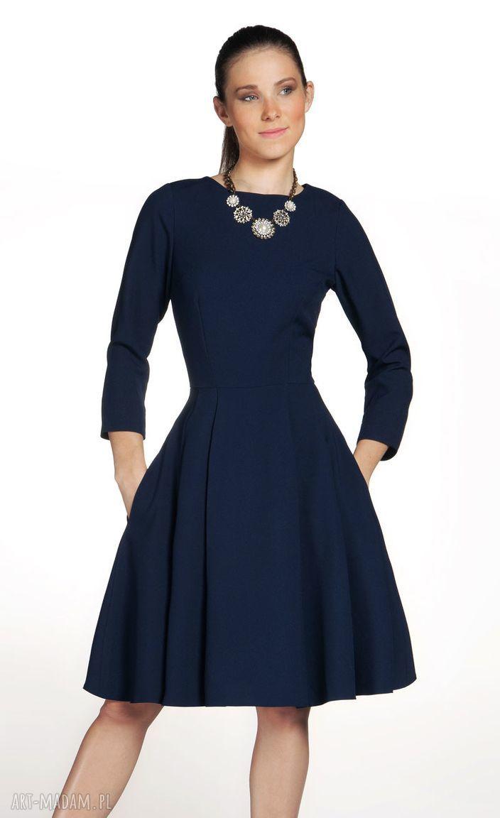 rozkloszowana sukienki sukienka zuza midi granat