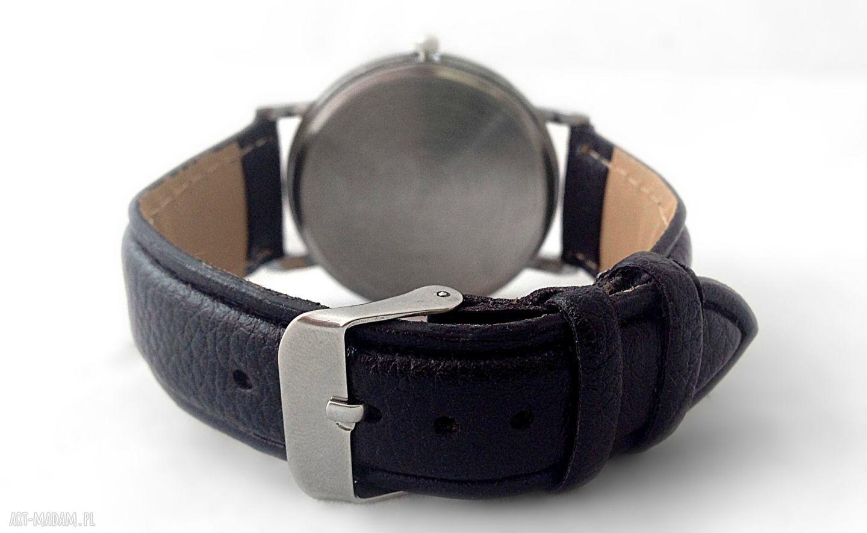 zegarek zegarki czarne koci pyszczek - skórzany