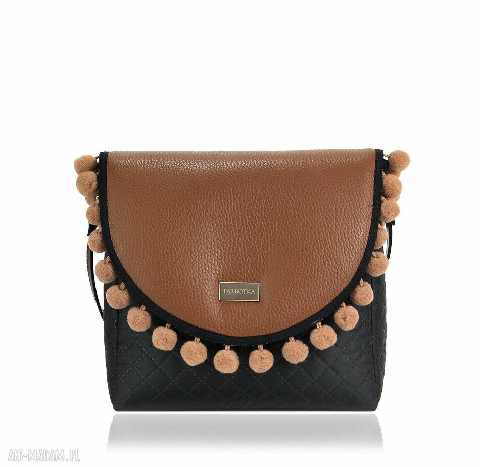 ręcznie robione na ramię torebka puro 791 brown pompons