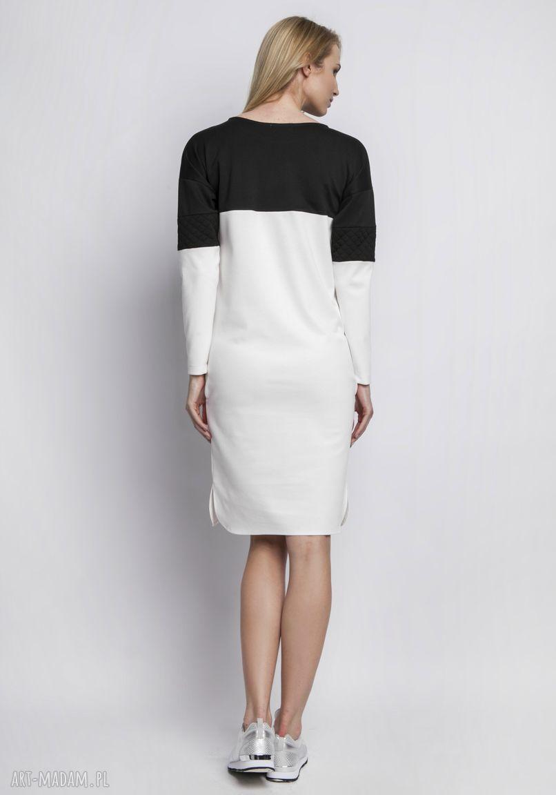 sukienki kontrast sukienka, suk107 ecru