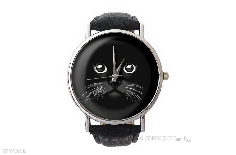 hand made zegarki koci pyszczek - skórzany zegarek z dużą tarczą