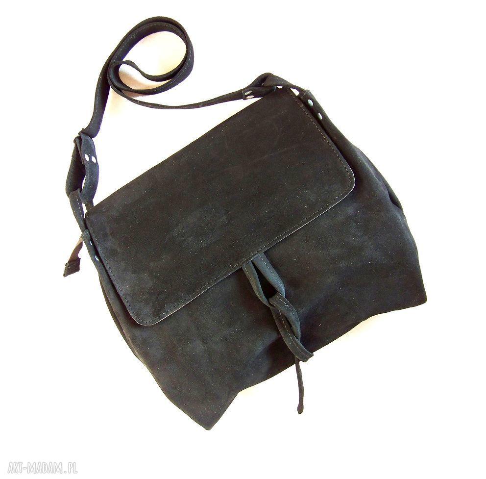 handmade na ramię surowa baronowa czarna zamszowa