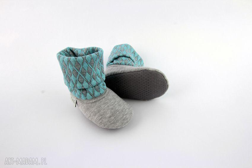 turkusowe buciki papcie bambosze z golfem / hand made