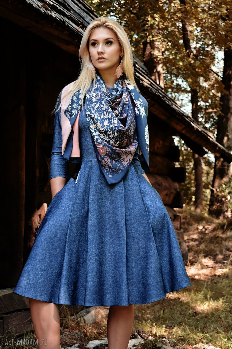 ręcznie wykonane sukienki sukienka zuza midi denim