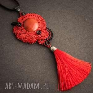 Czerwony wisior soutache w hiszpańskim stylu, hiszpański, flamenco, sutasz,