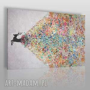 obraz na płótnie - jeleń kolory 150x100 cm 49401/150x100, jeleń, artystyczny