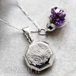 925 Srebrny naszyjnik z suszonymi kwiatami i medalionem, medalin, kulka, kwiaty