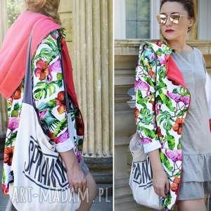 handmade bluzy długa bluza oversize z motywem tropikalnym, ogromny kaptur, flamingi