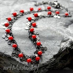 koral czerwony- misterny naszyjnik - srebro, koral, misterny, kunsztowny, ekskluzywny