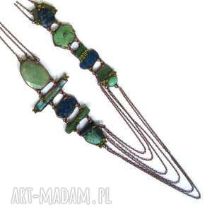 naszyjniki długi naszyjnik turkusowo-miedziany, naszyjnik, długi, kamienie, lapis