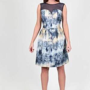 SUKIENKA KOKTAJLOWA - HISZPAŃSKA BAWEŁNA BATIK, sukienka, wzór, batik, wesele, bombka