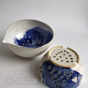 ceramika durszlak ceramiczny i miska 2, ceramiczna, durszlak