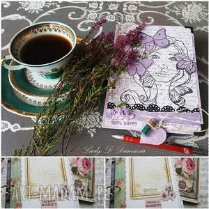 handmade scrapbooking notesy pamiętnik / dziewczyna z motylami