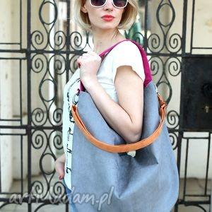 hobo xxl true colors - rainbow ii, torba, torebka, szara, pomarańczowa, różowa