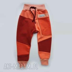 ubranka patch pants spodnie 74 - 98 cm brzoskwinia, bawełna, ciepłe-spodnie