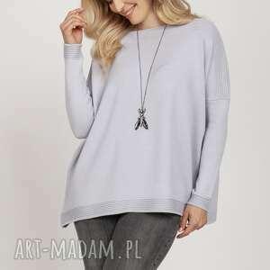 swetry dzianinowa bluza - swe222 mkm szary, wyjściowy, oversize, luźny, sweter